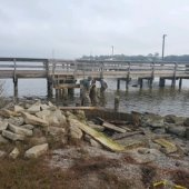 staff fixing Mattie Kelly Pier