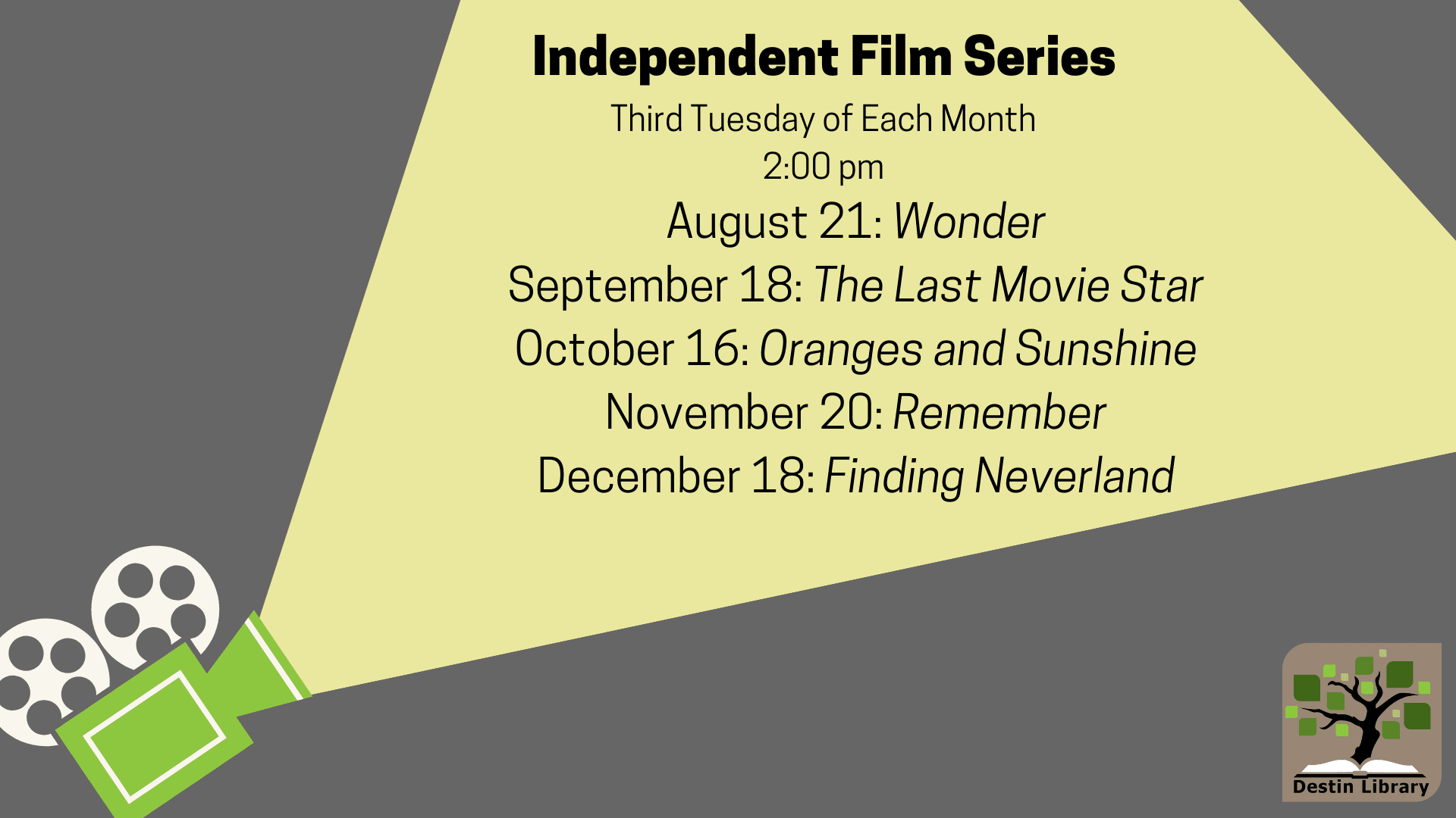 Independent Film Series Schedule for Fall 2018