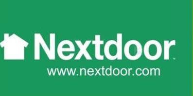 Nextdoor logo in green and white with website address www.nextdoor.com