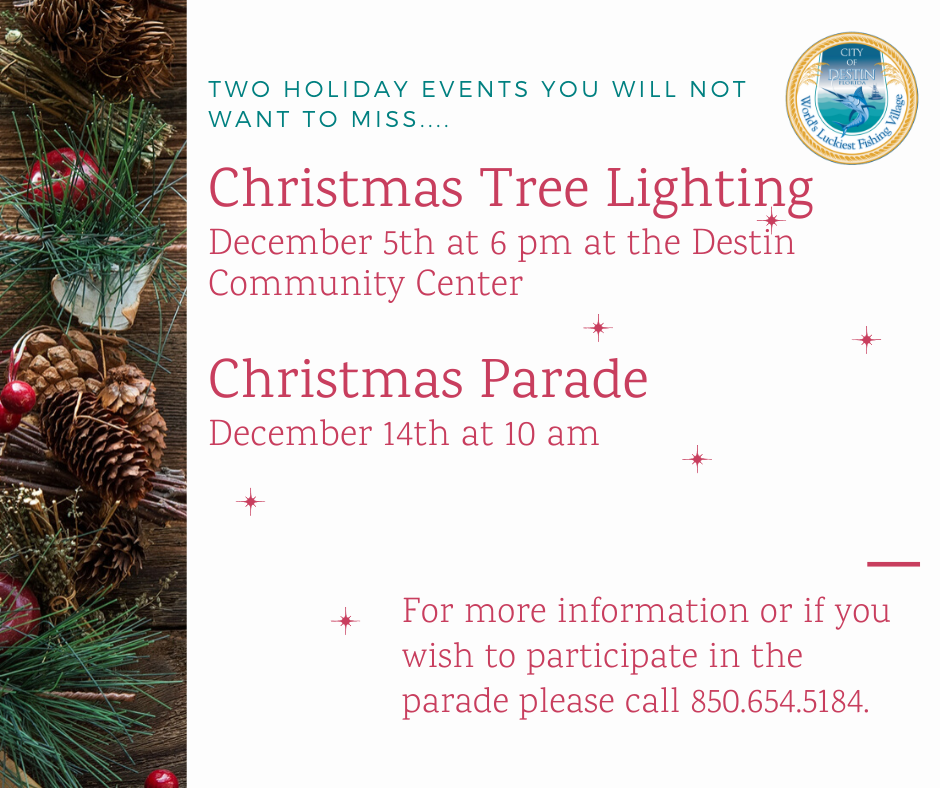 A picture of pine cones with greenery and information about the tree lighting and parade.