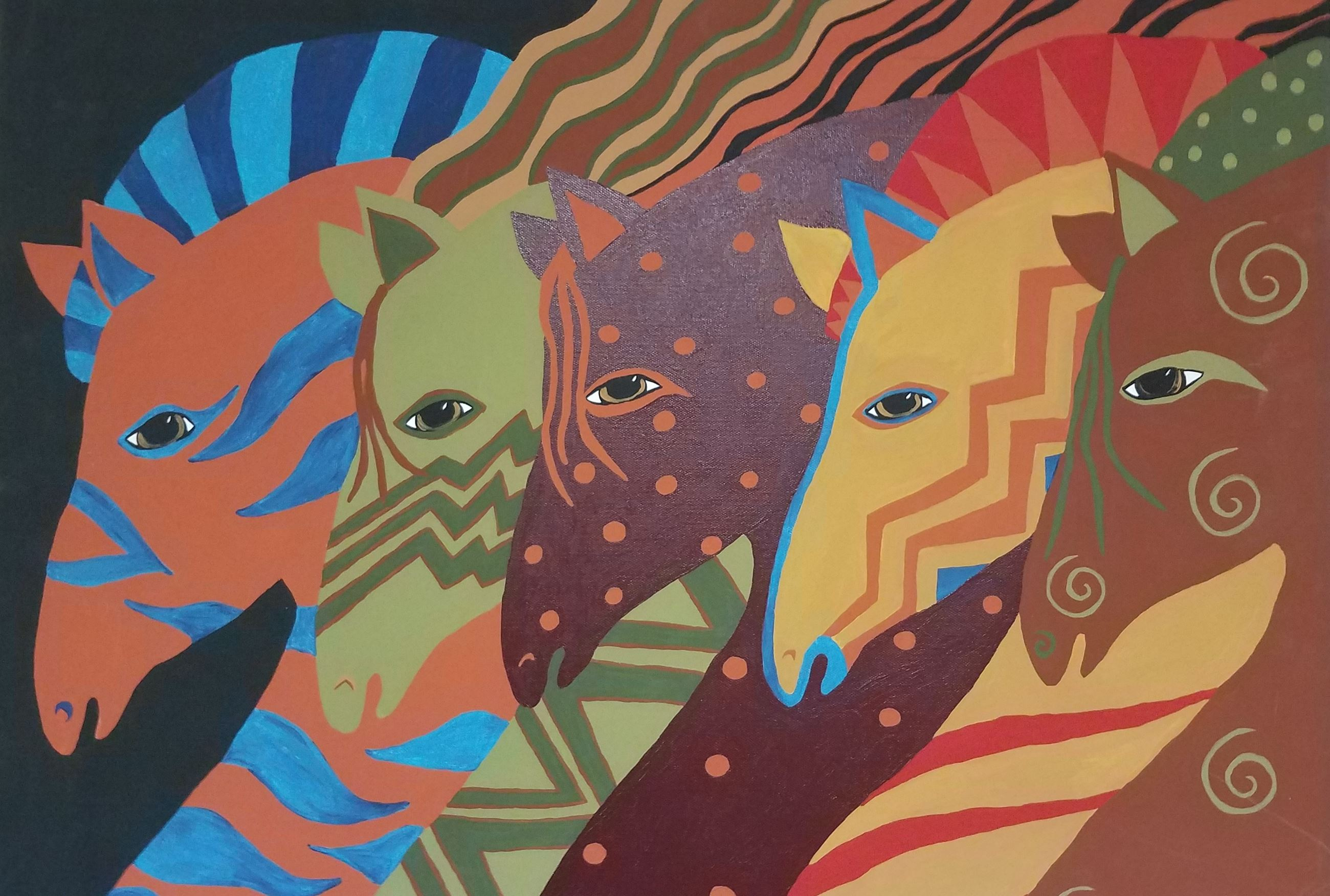 A multi color painting of five horses