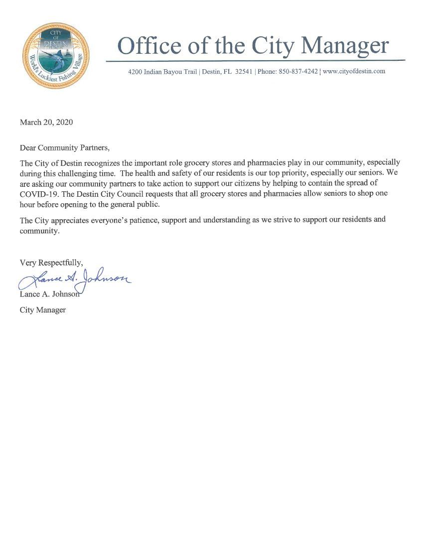 Letter from Destin City Manager asking community partners to help seniors in our local community