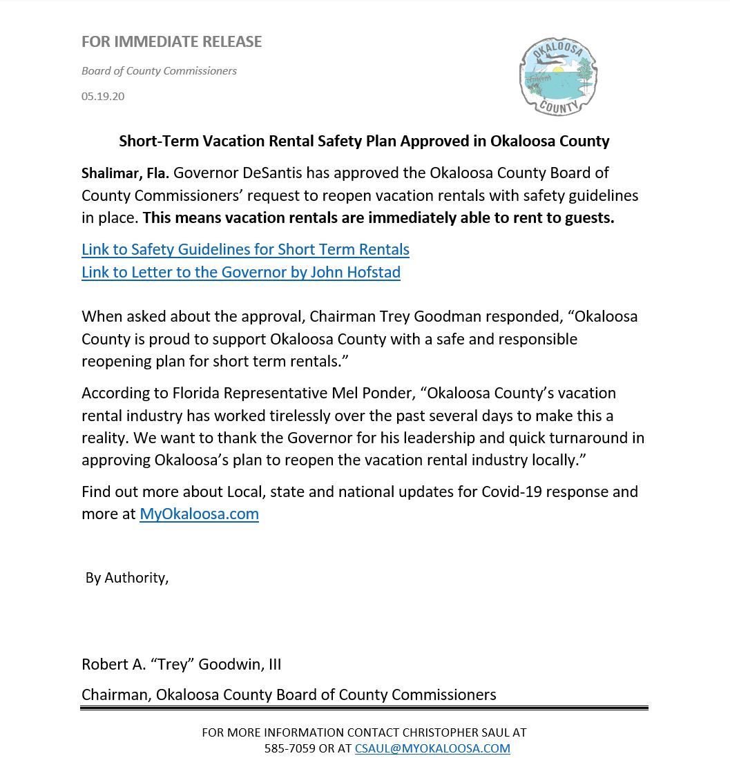 Letter from Okaloosa County on short term rental reopen