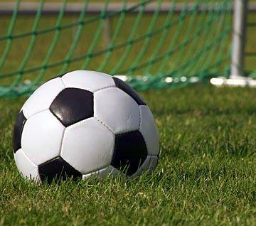 soccer ball on the grass in front of the net