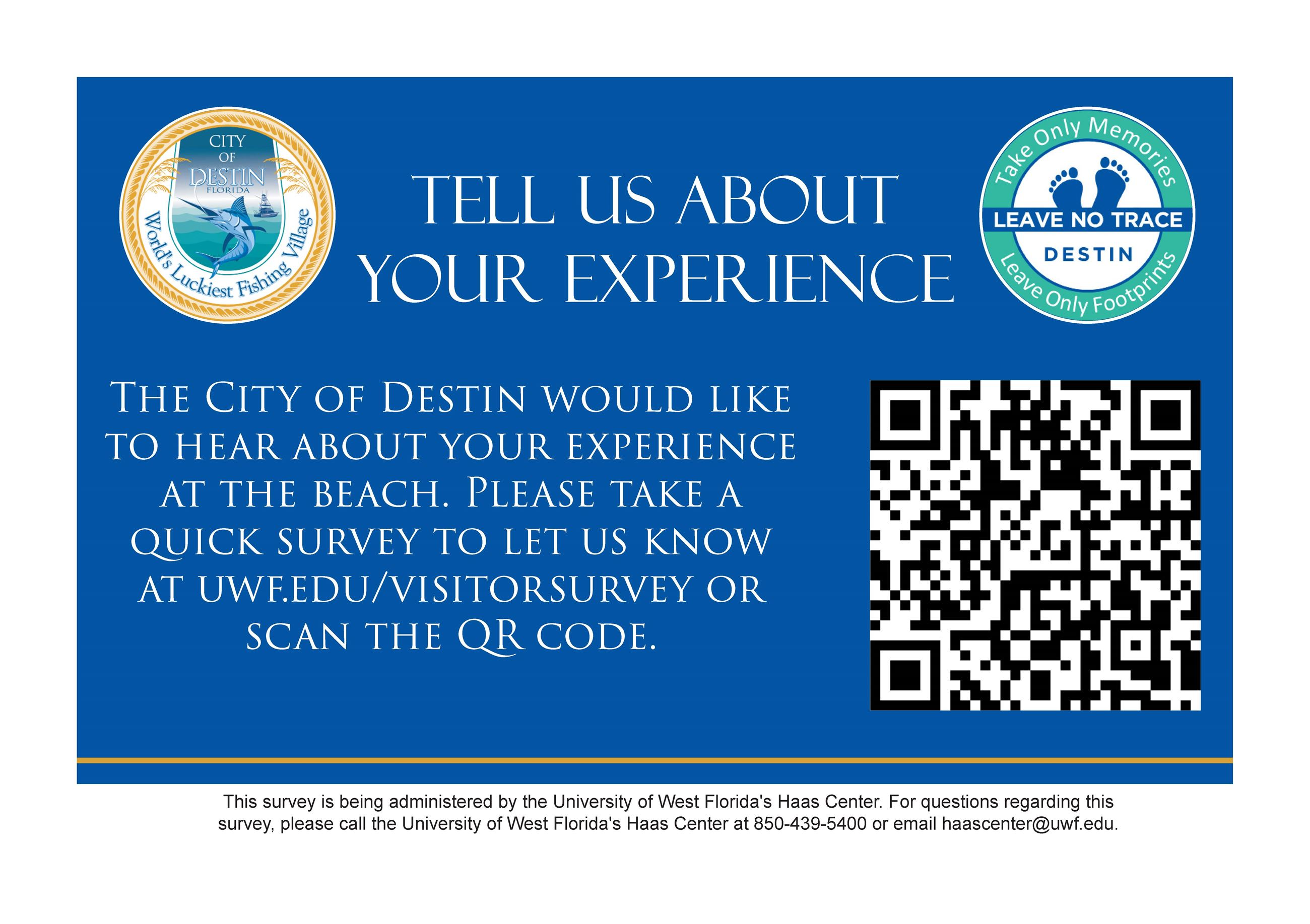 Image of the Destin Beach Survey sign with link and QR code
