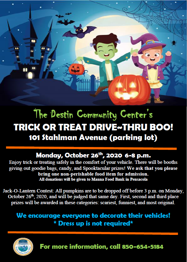 Halloween Flyer with information about the trick or treat drive thru and pumpkin carving contest
