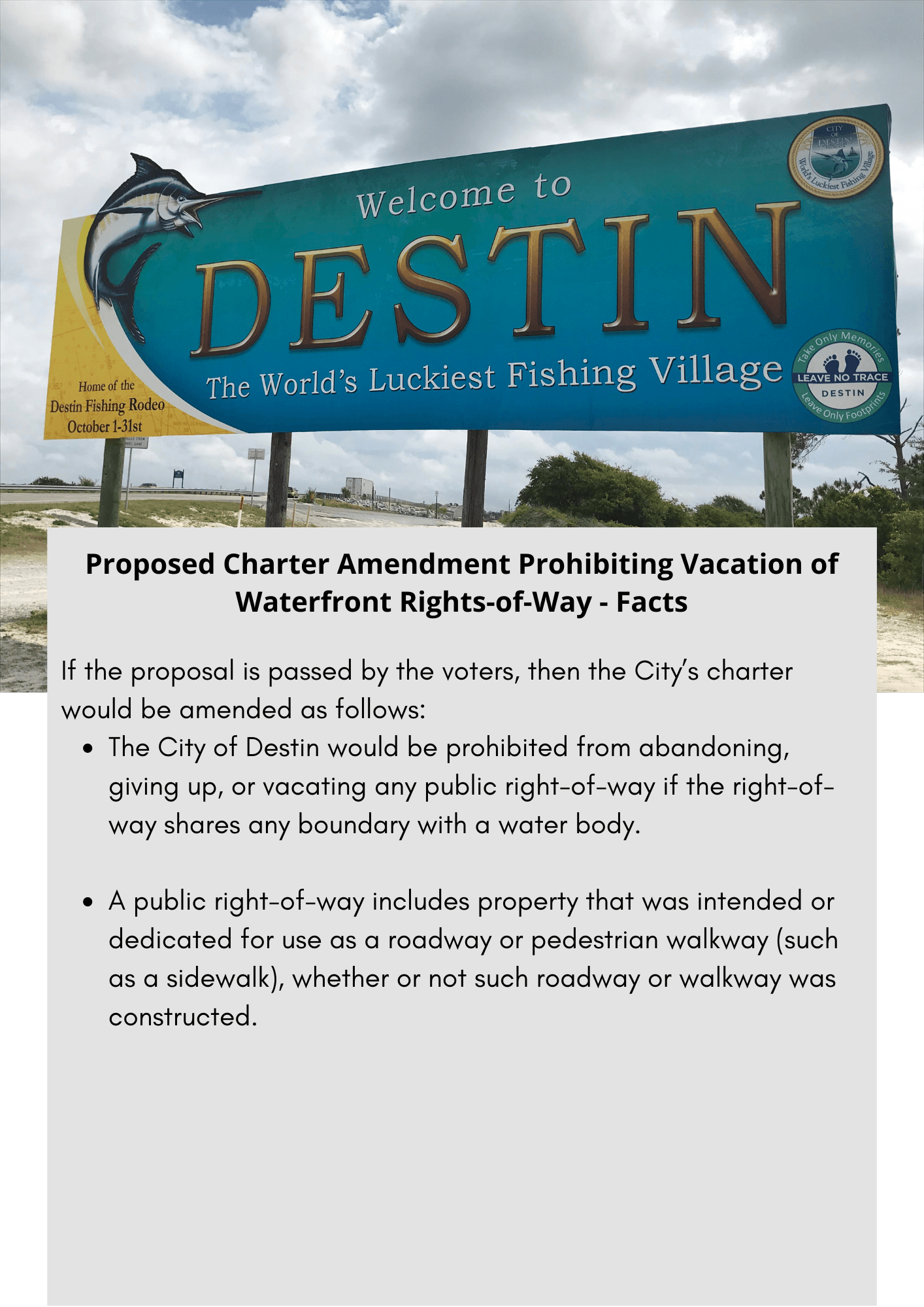 Proposed Charter Amendment Prohibiting Vacation of Waterfront Rights-of-Way - Facts