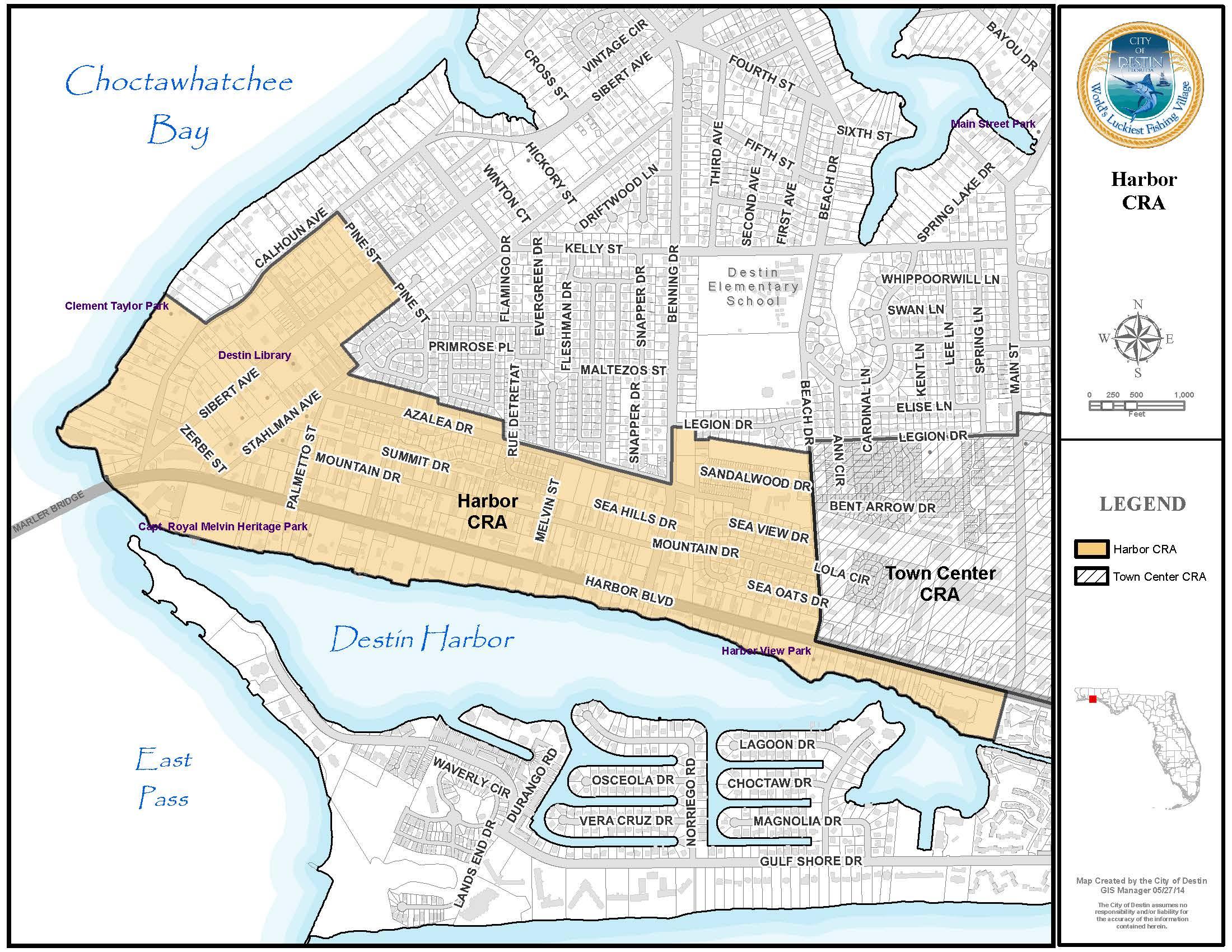Harbor CRA Destin FL Official Website - Florida map destin beach